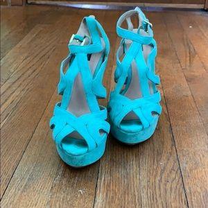 Zara Turquoise Suede Ankle Strap Block Heel
